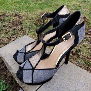 Jessica Simpson Silver & Gold Platform Heels